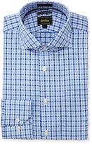 Neiman Marcus Luxury Tech Trim-Fit Check Dress Shirt, Blue