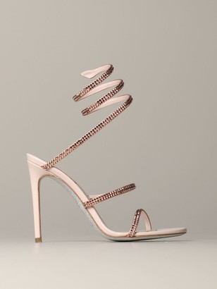 Rene Caovilla High Heel Shoes Snake Sandal With Rhinestones