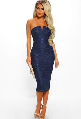 Pink Boutique Elegance and Lace Navy Lace Strapless Bodycon Midi Dress