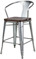 Thumbnail for your product : Design Tree Home Bastille Galvanized Steel Counter Stool with Walnut Seat