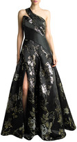 Basix II One-Shoulder Floral Jacquard Satin A-Line Gown