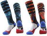 J'colour Mens Color Printed Elite Dri-Fit Knee High Winter Warm Basketball Socks,2-Pack,Multicolour1,Size(10 -13)