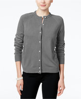 Karen Scott Petite Luxsoft Crew-Neck Cardigan, Only at Macy's