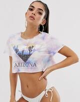 Asos Design DESIGN jersey beach crop top in tie dye with Arizona motif