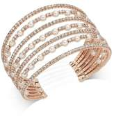 INC International Concepts I.N.C. Rose Gold-Tone Pearl & Pavé Multi-Row Cuff Bracelet, Created for Macy's