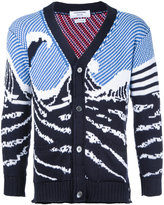 Thom Browne ocean pattern cardigan - men - Cotton - 1