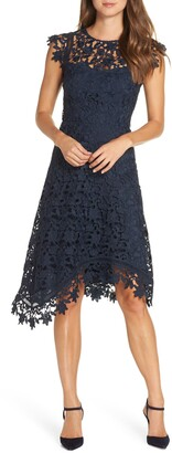 Eliza J Asymmetrical Lace Fit & Flare Dress