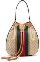 Gucci Rania Canvas Drawstring Shoulder Bag, Classic Khaki