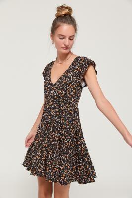 Urban Outfitters Julia Tiered Ruffle Mini Dress - black XS at