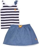 U.S. Polo Assn. White Stripe & Bow Tank & Skort - Infant & Toddler