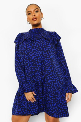 boohoo Plus Spot Print Ruffle Smock Dress