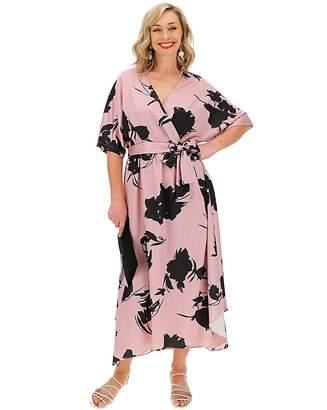 Jd Williams Nude Floral Wrap Front Kimono Dress