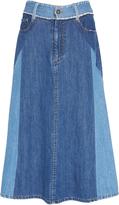 Sea Two-Tone Denim Midi Skirt