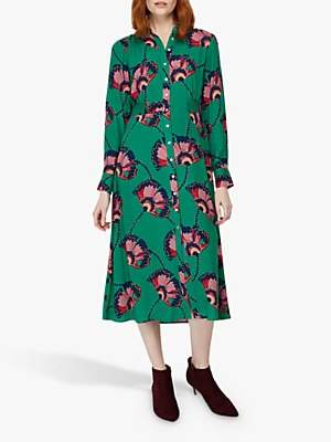 Monsoon Fara Fan Print Shirt Dress, Green