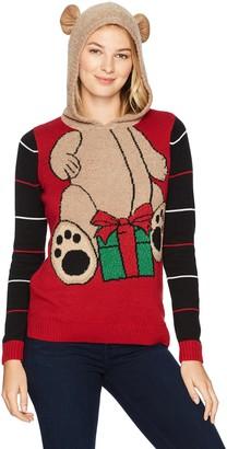Ugly Christmas Sweater Junior's Bear W/Present Hoodie