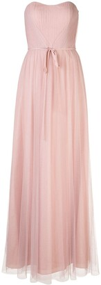 Marchesa Notte Bridesmaids Strapless Tulle Long Bridesmaid Gown