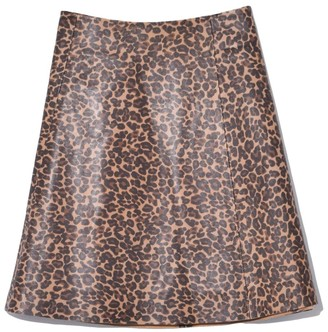Veda Smooth Leather Circle Skirt in Leopard