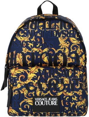 Versace Jeans Couture Baroque-Pattern Fabric Backpack