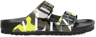 Valentino Camo Logo Birkenstock Sandals