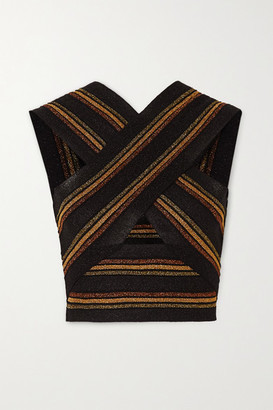 Balmain Cropped Cutout Striped Wool And Metallic Knitted Top - Black