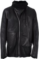 Rick Owens high collar leather jacket