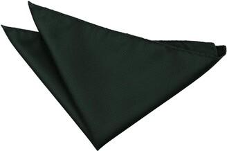 DQT Men Green Solid Plain Stripe Floral Paisley Polka Dot Tartan Pocket Square - Scroll White & Teal