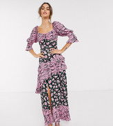 Dark Pink milkmaid maxi in grunge floral animal mix