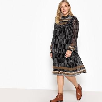Castaluna Plus Size Ruffled High Neck Printed Boho Dress