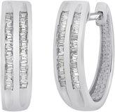 JCPenney FINE JEWELRY 1/3 CT. T.W. Diamond Sterling Silver 2-Row Hoop Earrings