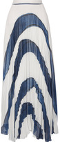 Alice + Olivia Shannon Asymmetric Pleated Printed Georgette Maxi Skirt - White