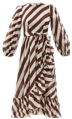 Zimmermann Lulu Belted Striped Cotton Midi Dress - Brown Stripe