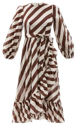 Zimmermann Lulu Striped Belted Cotton Midi Dress - Brown Stripe