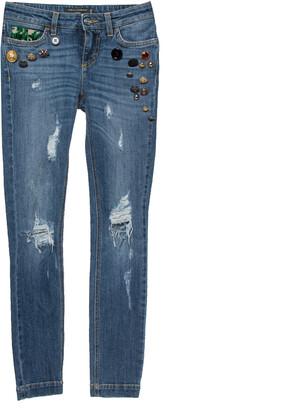 Dolce & Gabbana Blue Distressed Denim Button Embellished Skinny Jeans XS
