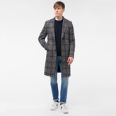 Paul Smith Men's Brown Wool-Alpaca Houndstooth-Check Overcoat