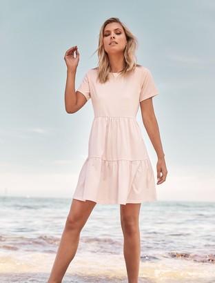 Forever New Sallie Smock T-Shirt Dress - Pink Oyster - 16