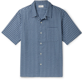 Universal Works Camp-Collar Checked Cotton-Seersucker Shirt