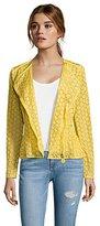 Moncler yellow cotton lace embroidered 'Majorelle' asymmetrical zip jacket