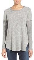 Bobeau Petite Women's Rib Long Sleeve Fuzzy Sweatshirt