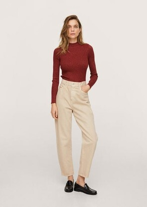 MANGO Glitter detail sweater burnt orange - XS - Women