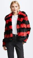 McQ Alexander McQueen Shrunken Faux Fur Peacoat