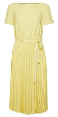 Dorothy Perkins Womens Yellow Turn Back Pleated Midi Dress, Yellow