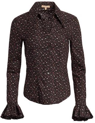 Michael Kors Crushed Ruffle-Cuff Shirt