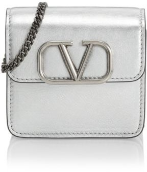 Valentino Small VSling Metallic Leather Wallet-On-Chain