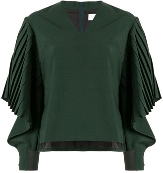 AKIRA NAKA Draped Pleated Sleeve Top
