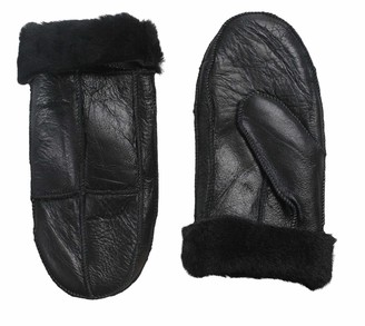 Nordvek Womens Sheepskin Mittens - Leather Finish - Adjustable Turnover Cuff # 308-100 - Black