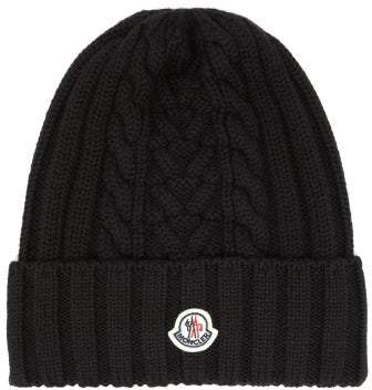 Cable Knitted Wool Beanie Hat Womens Black