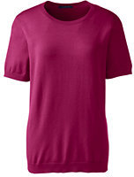 Classic Women's Plus Size Short Sleeve Performance Sweater-Rich Red