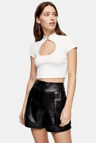 Topshop TALL White Cut Out Crop Top