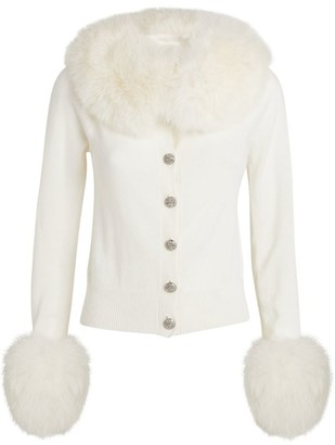 Izaak Azanei Fur-Trim Embellished Cardigan