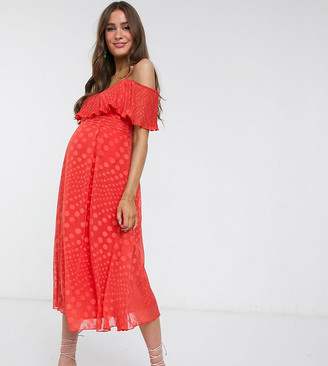 Little Mistress Maternity off shoulder skater dress in spot jacquard in orange